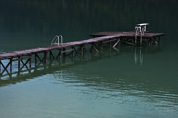 Wood pontoon. Lac d'Aiguebelette. Savoy