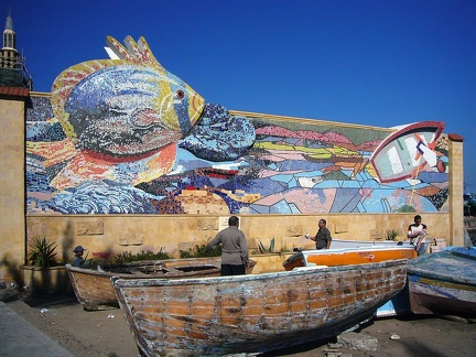 Mosaic. Fishing port of Alexandria